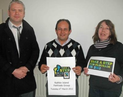Rathlin Fairtrade - Cllr Padraig McShane, Sigfredo Benitez & Rathlin islander Angela Green take a step for Fairtrade, 06.03.12_0.jpg