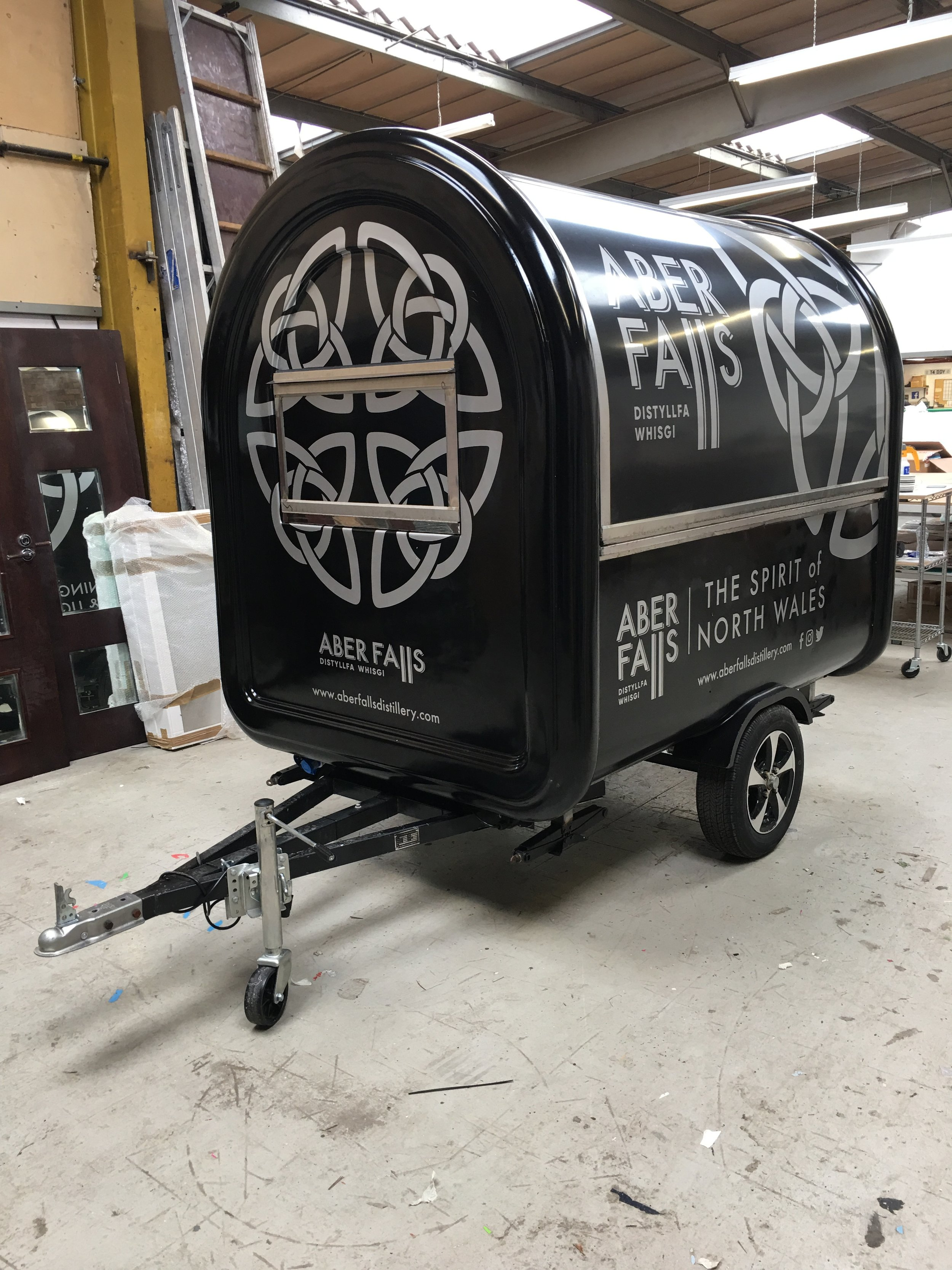 Gin Trailer Vinyl Graphics.   Vinyl graphics applied to all four sides of a mobile bar for a whiskey distillery based in Wales.