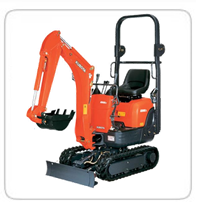 Ultra Compact Excavators  (Exhaust Scrubbers Available)    K-008 – 2,025lb      9VXE-3 (Electric)- 2,100lb