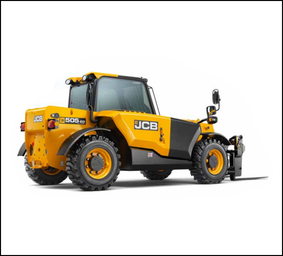 JCB 505-20    Ruggedly and ergonomically designed the JCB 505-20 is the latest addition to our rough terrain forklift fleet. The maximum 20ft lift height makes it straightforward to place supplies onto a two story building. The load capacity with the boom retracted is 5500 lbs, or 3900 lbs at full height. Versatile and well built, a great addition to the job site.
