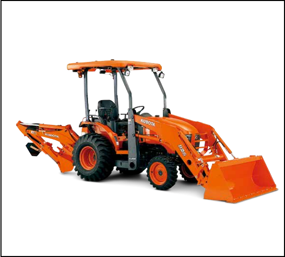 Kubota B26 Loader/Backhoe    Expertly built and designed to be used from landscaping to construction sites, the B26 offers versatility in a compact package. This 4,000lb unit features a 24.3 HP diesel engine, standard 4WD and engineered for productivity.