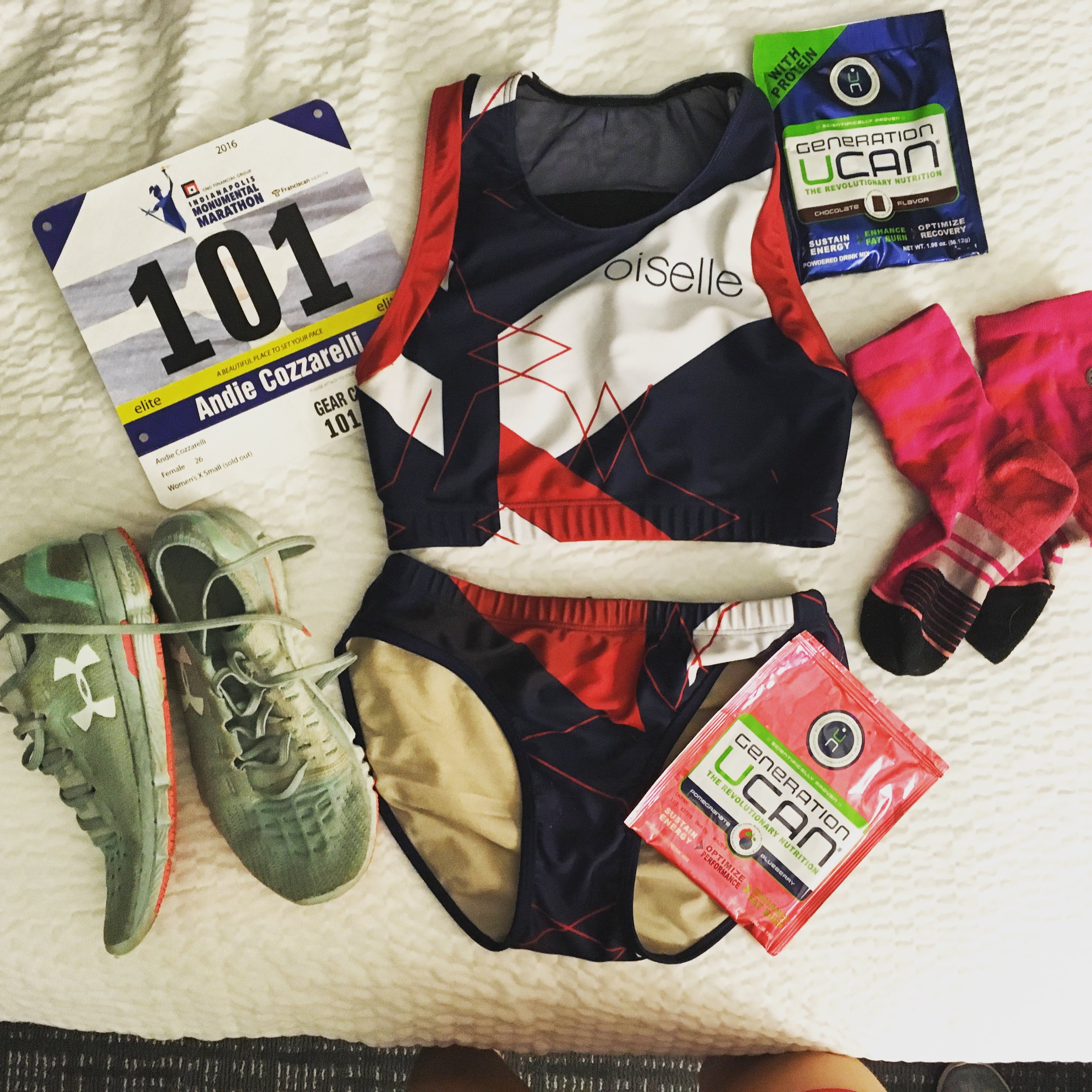 Oiselle Haute Volee Kit, Under Armour Slingshots, UCAN Superstarch & Protein, and Stance Socks.