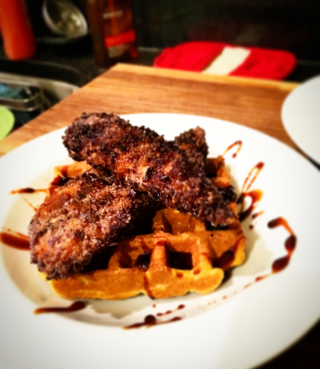 Chicken and Sweet Potato Waffles with Spiced Coconut Sugar Syrup
