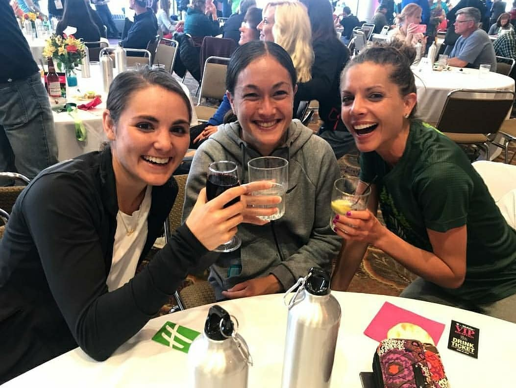Post race celebrations - From left: Me, Jamie Hershfang (4.5 min PR!), and Kristina Aubert (OTQ in Debut!)  Thank you to everyone who sent words of encouragement before and after. To my roommate Jamie and my new friends from DW Running in Chicago. To all of the girls and guys I ran with through Mile 20. To all of the new friends I made. To Oiselle and my Oiselle teammates on the course and at cowbell corner (you all saved me!). To UCAN and my UCAN teammates including Gary Brimmer who supplied me with a blender lol. Then to my RDP Teammates, Tribucha, Jasyoga, InsideTracker, RunRaleigh PT, O2 Fitness, ElliptiGO, Lock Laces, Big Spoon Roasters, Stance, and the community of runners in Raleigh for supporting me along the way and helping me get there <3