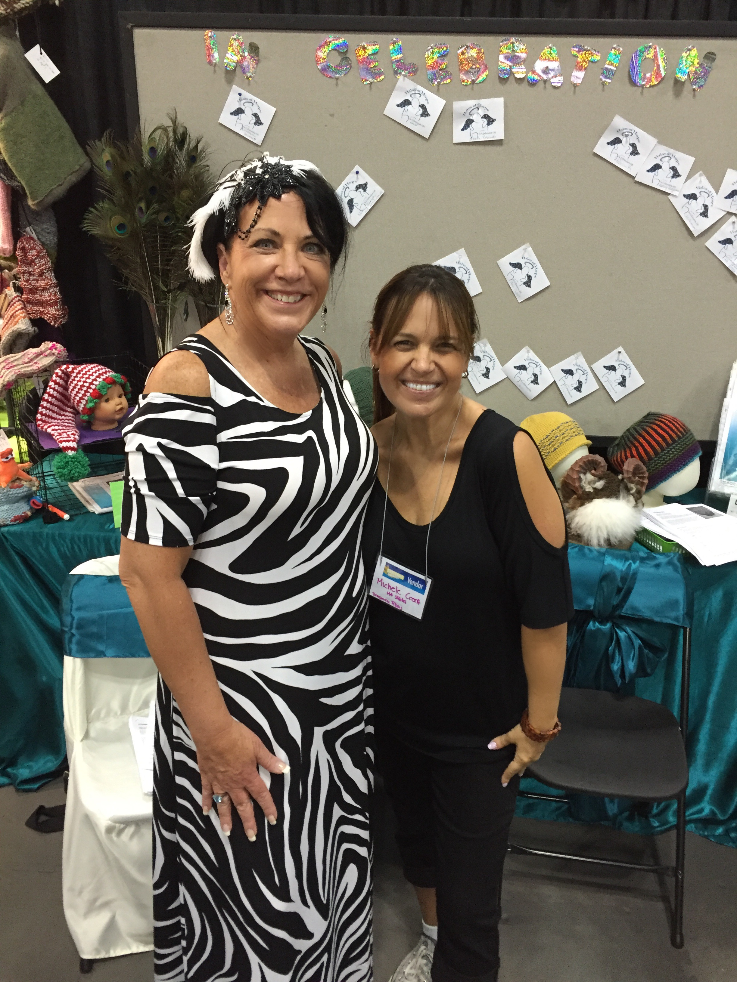 with Pam H at the Halos of Hope Booth at Stitches Midwest