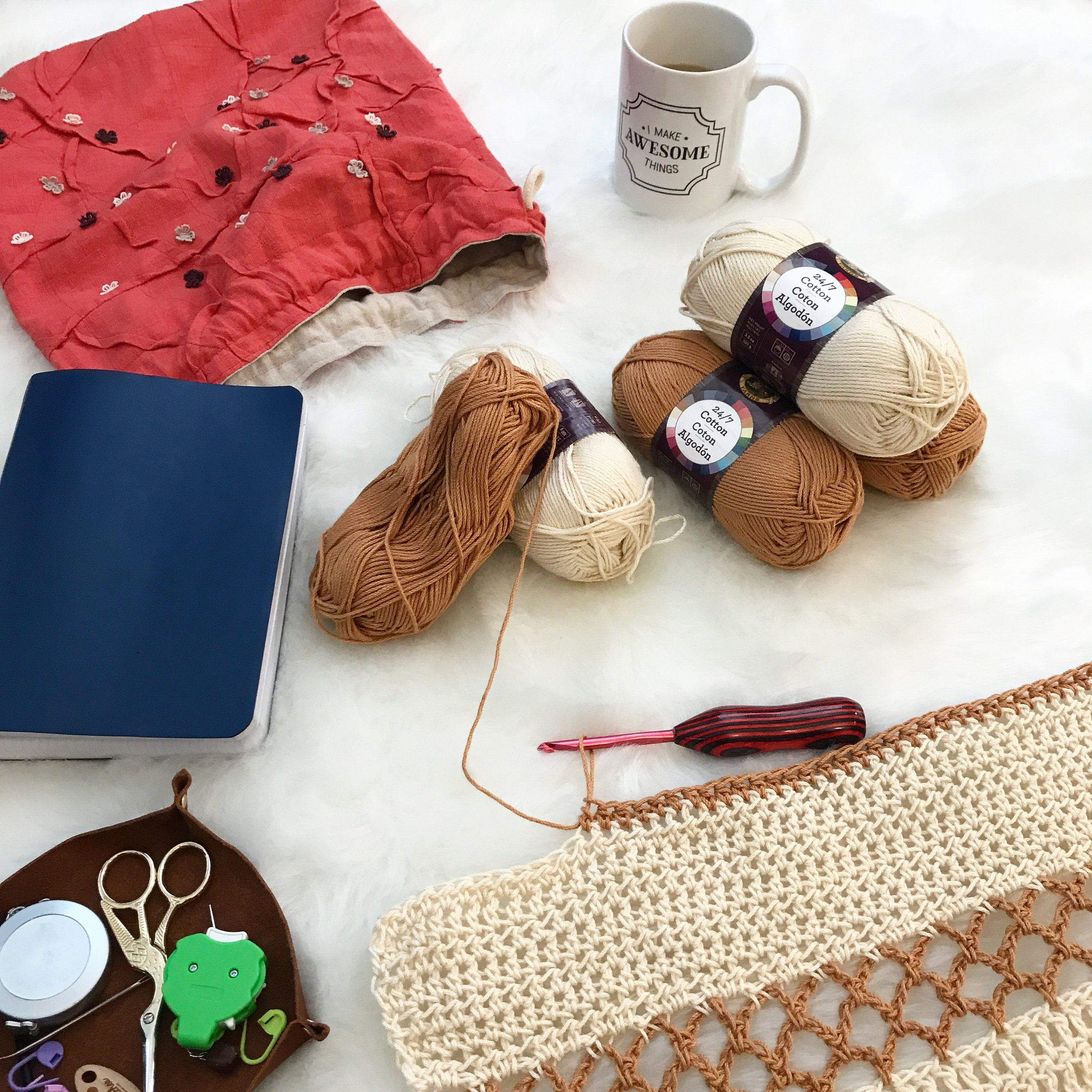 Design / Pattern Writing Essentials: Yarn, Coffee, Notebook, Markers, Tape Measure, Notions.