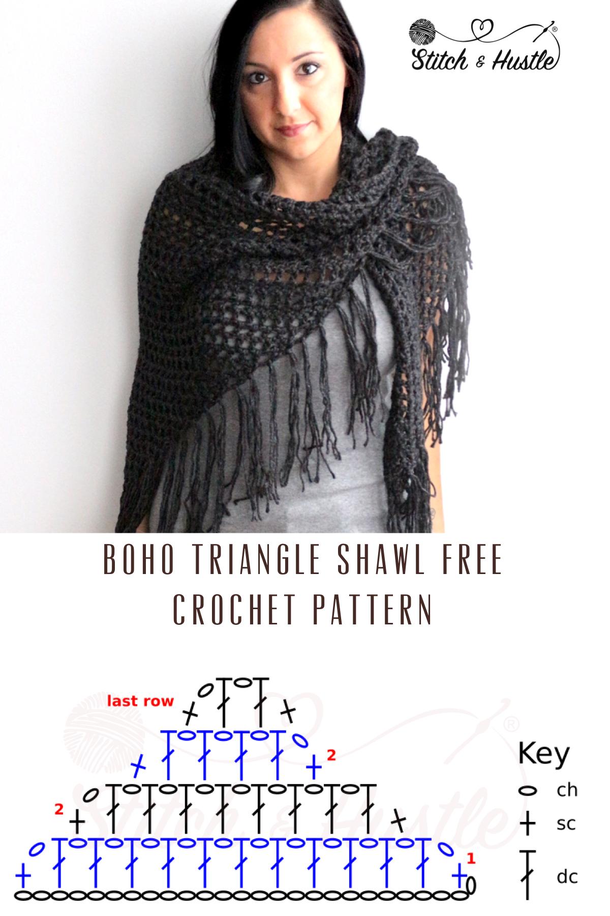 boho fringe shawl wrap crochet pattern 3