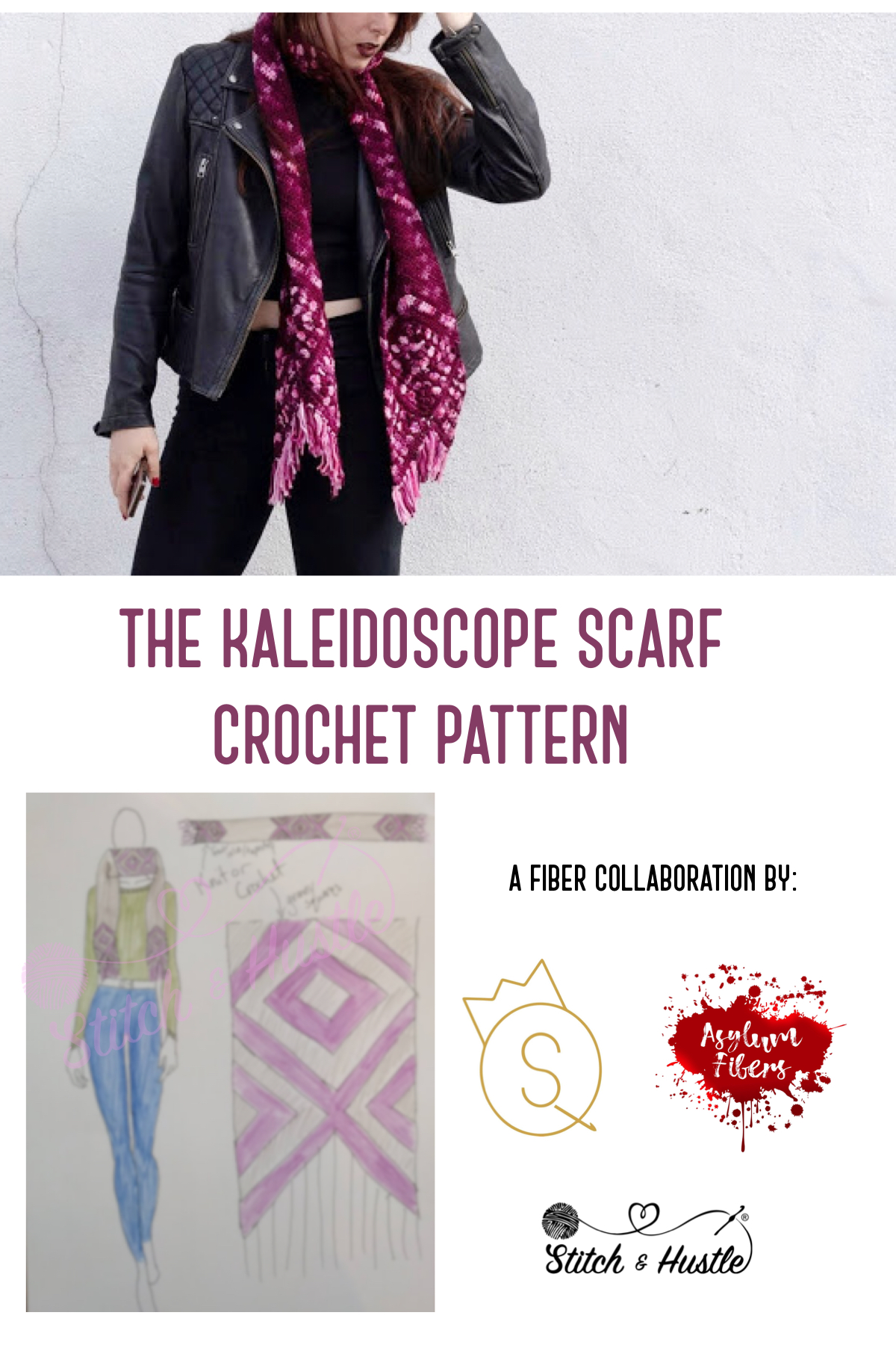 Katie of The Queen Stitch created a BoHo chic scarf design