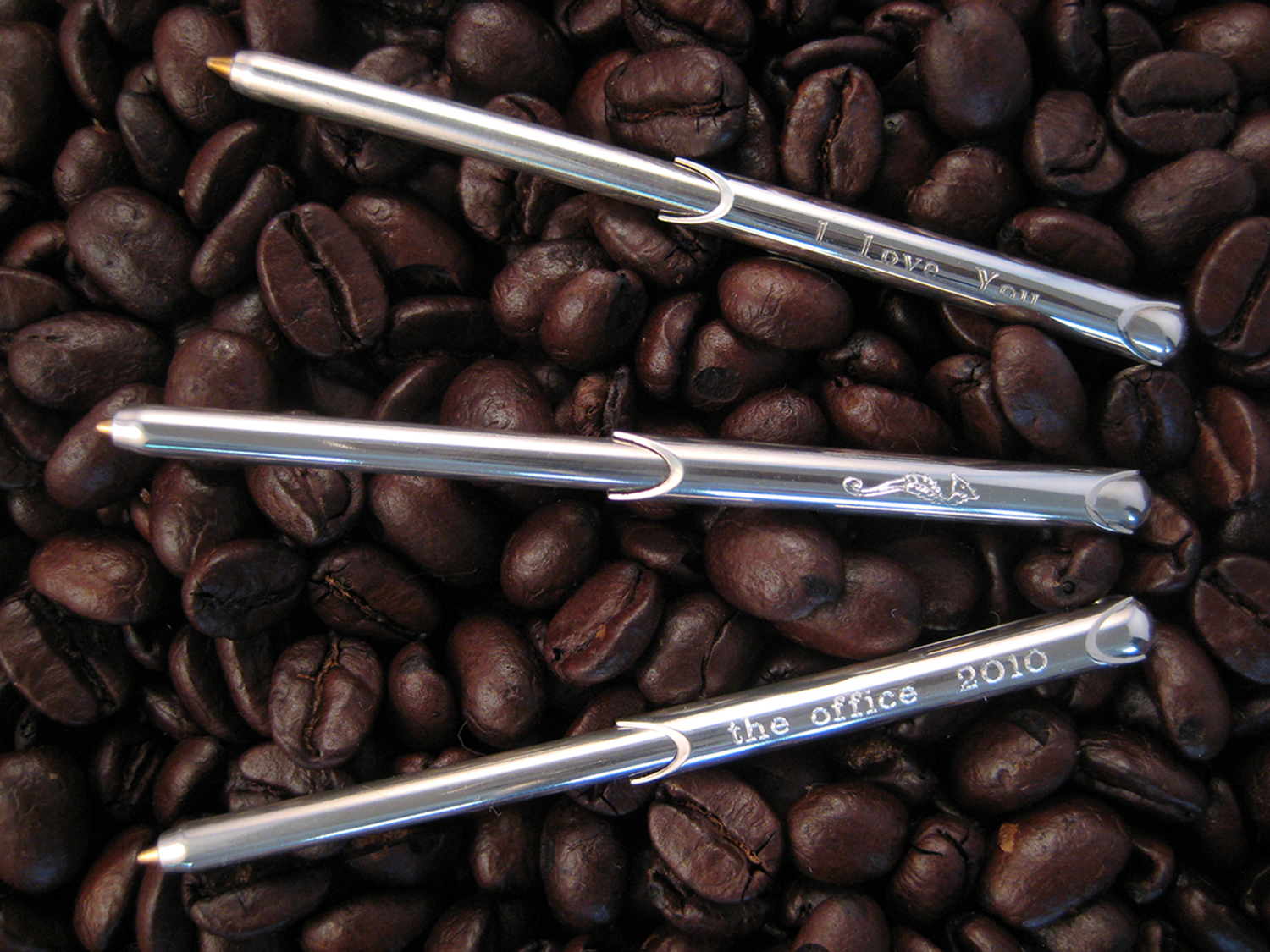 coffee beans engraved wallet pen