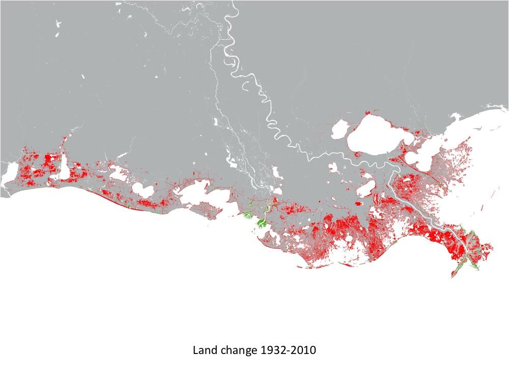 CPRA Land Change Map 1932-2010