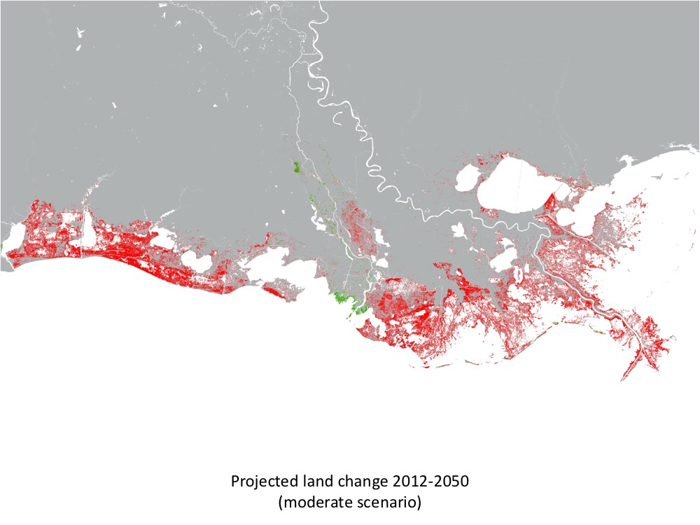 CPRA Projected Land Change Map 1912-2050