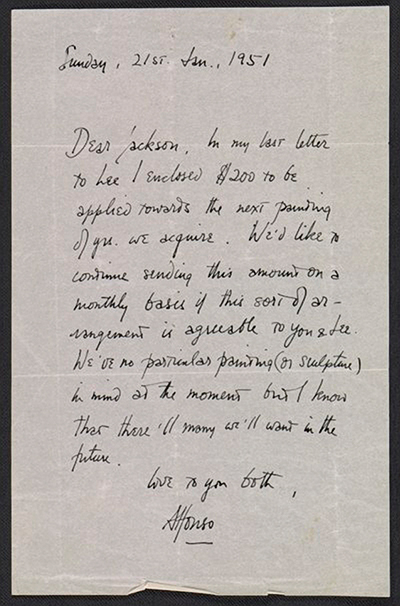 Letter to Pollock and Krasner