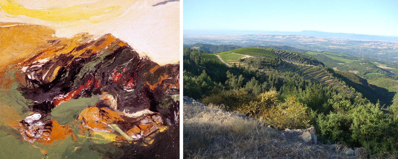 Bing's  Mayacamas #10  (1962)and a photo of the Mayacamas Valley vineyards