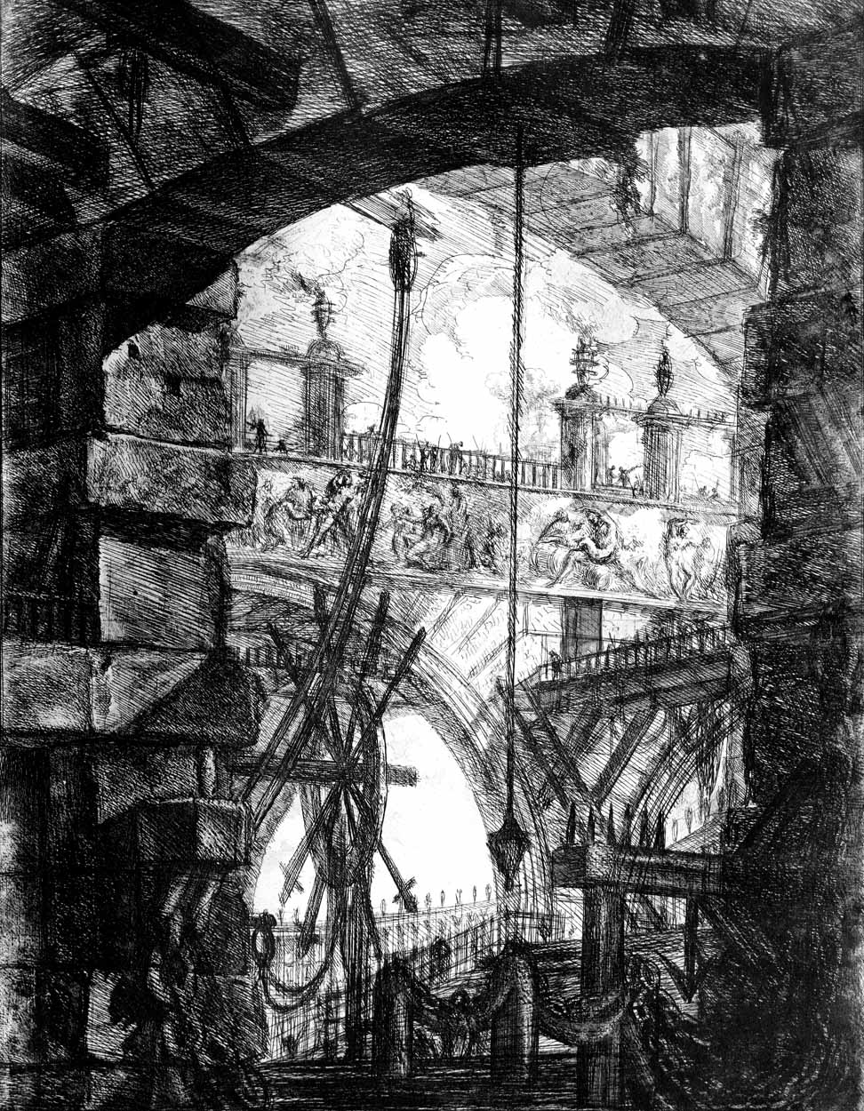 A lofty arch with visa onto an arcade…