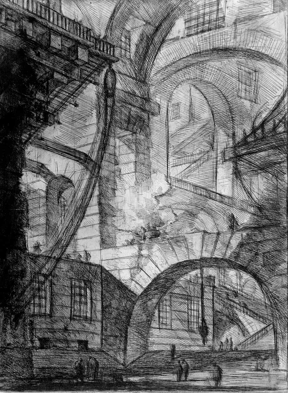 Arches with smoking fire in the center