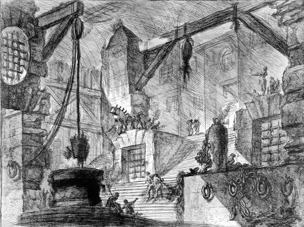 Collonaded interior with broad staircase divided in two by stone projection…