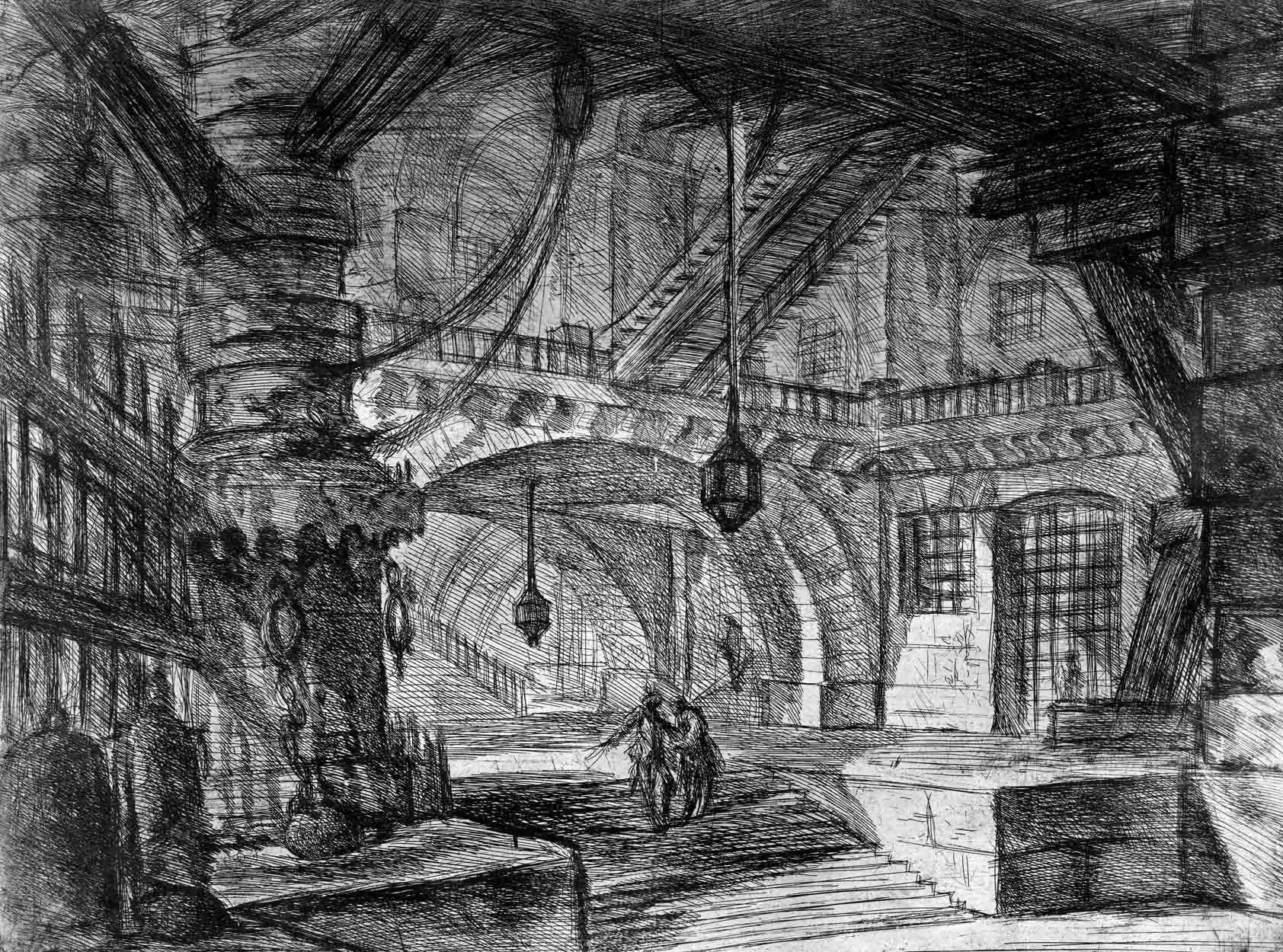 A wide hall with low timbered roof & a lantern…