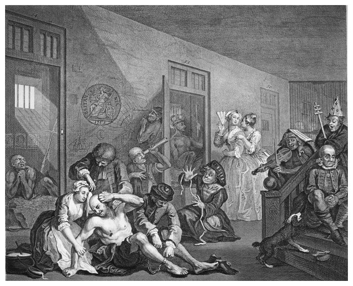 "Hogarth's ""Rake in Bedlam"" 1745"