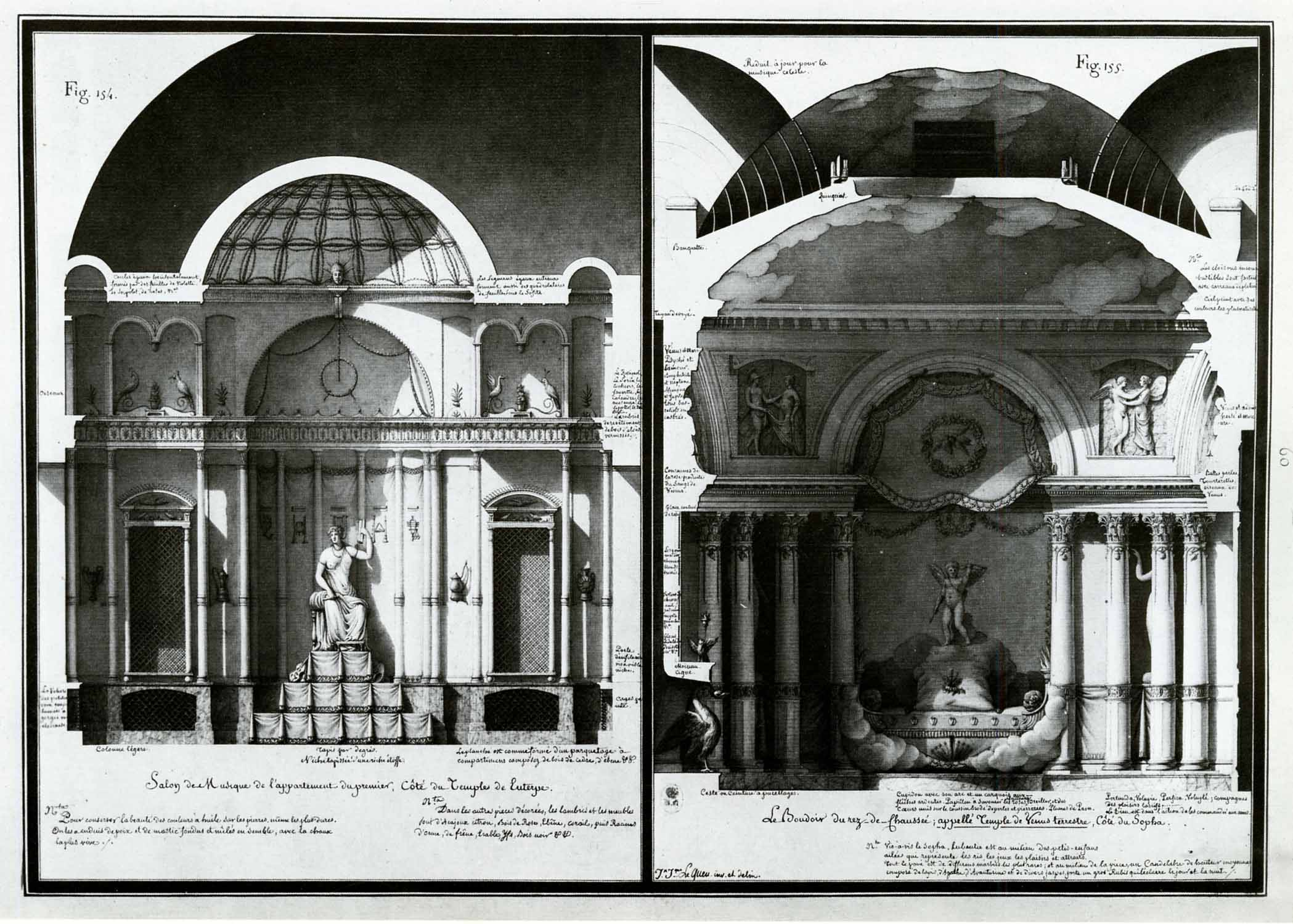 (L) Music room in the temple of Euterpe; (R) boudoir on the ground floor, known as the temple of Earthly venus, with sofa…