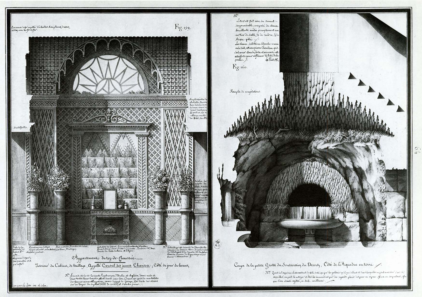 (L) Ground floor apartment of Council of Young Graces; (R) small grotto of underground chamber of the desert…