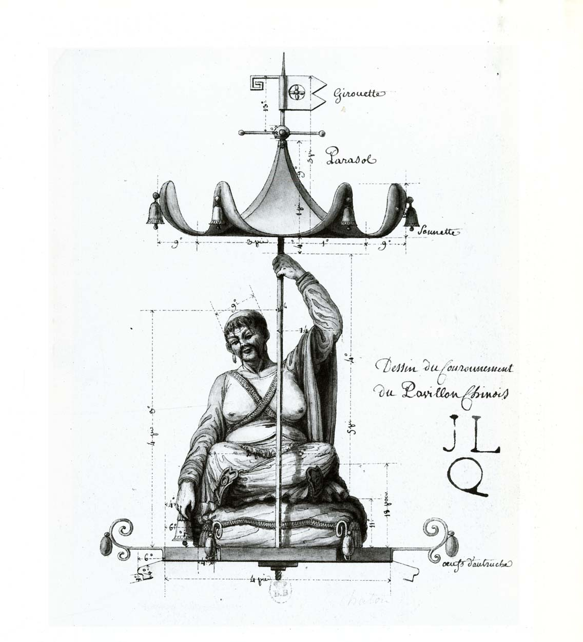 Drawing of the finial of the Chinese pavilion