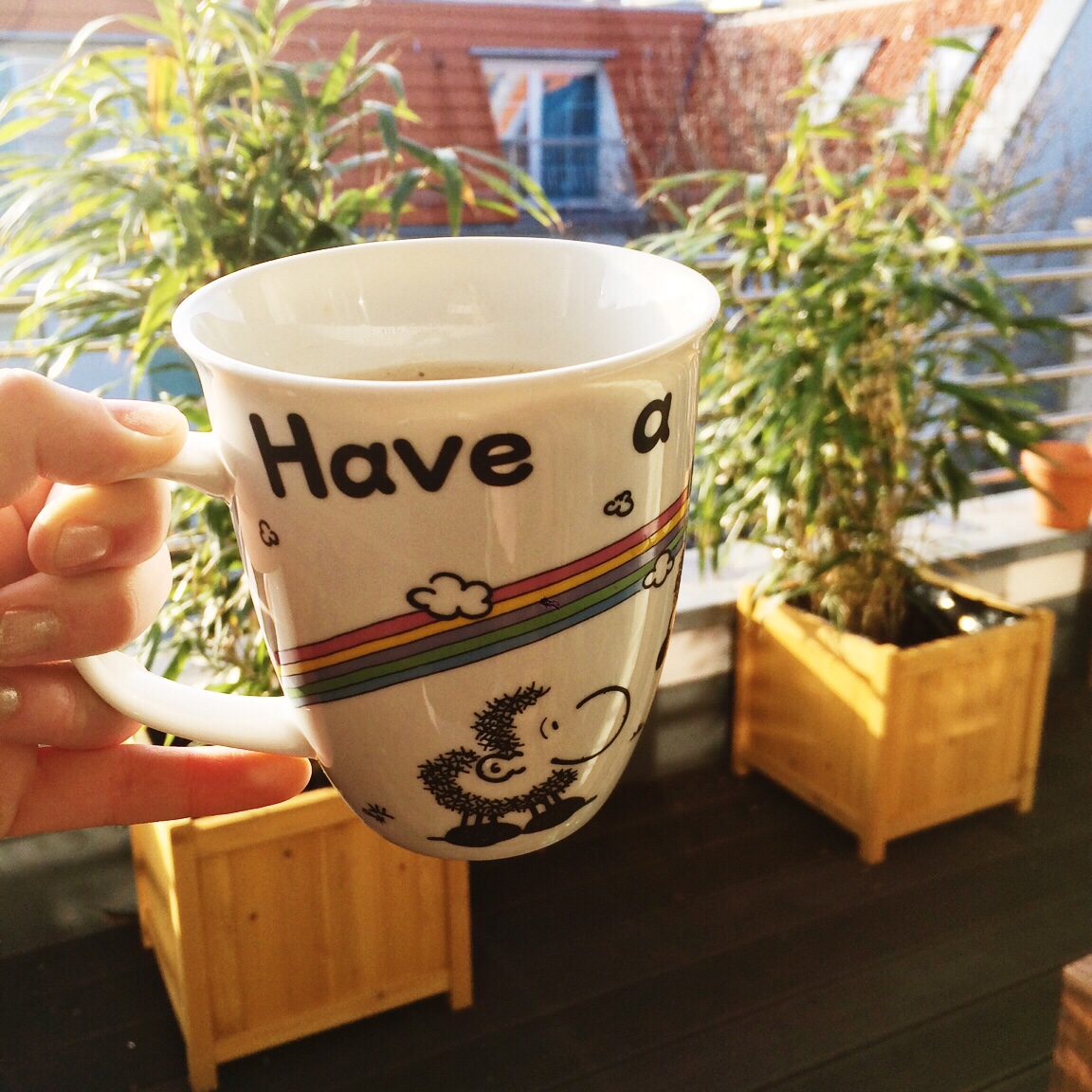 No morning without coffee. (And dreaming of the sun, currently.)