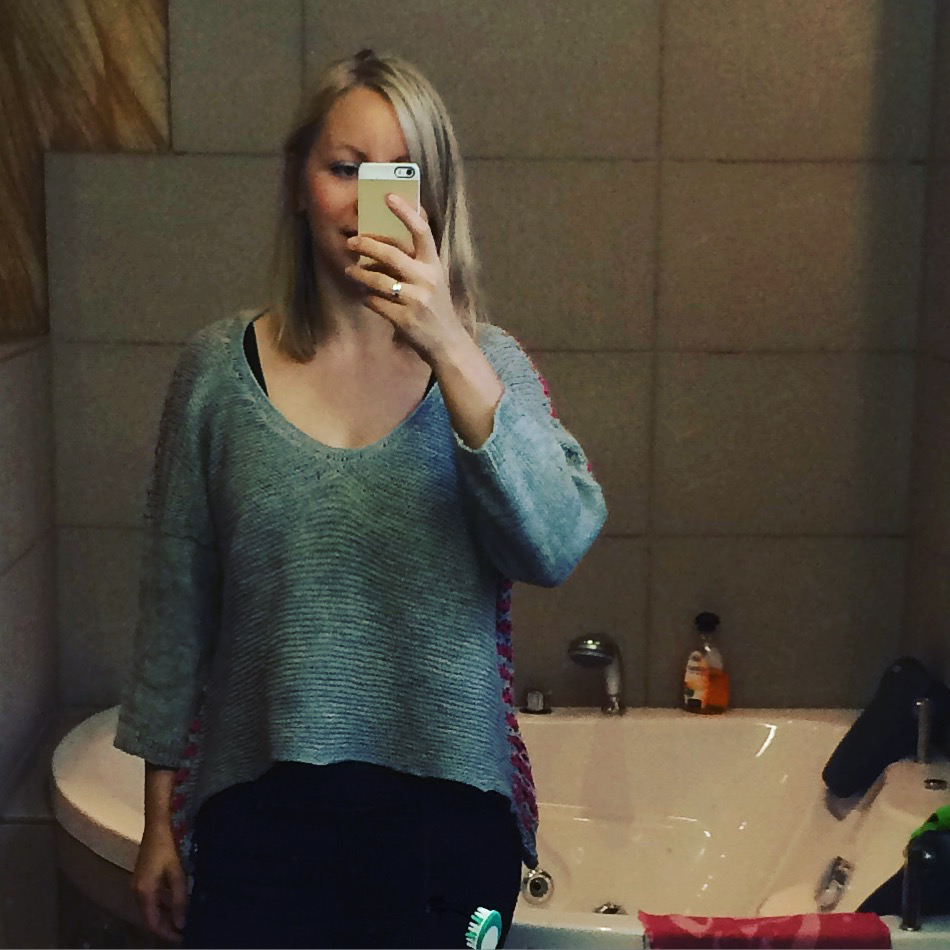 The above mentioned sweater, made in Iceland. Not-so-cameo appearance of messy bathroom included.
