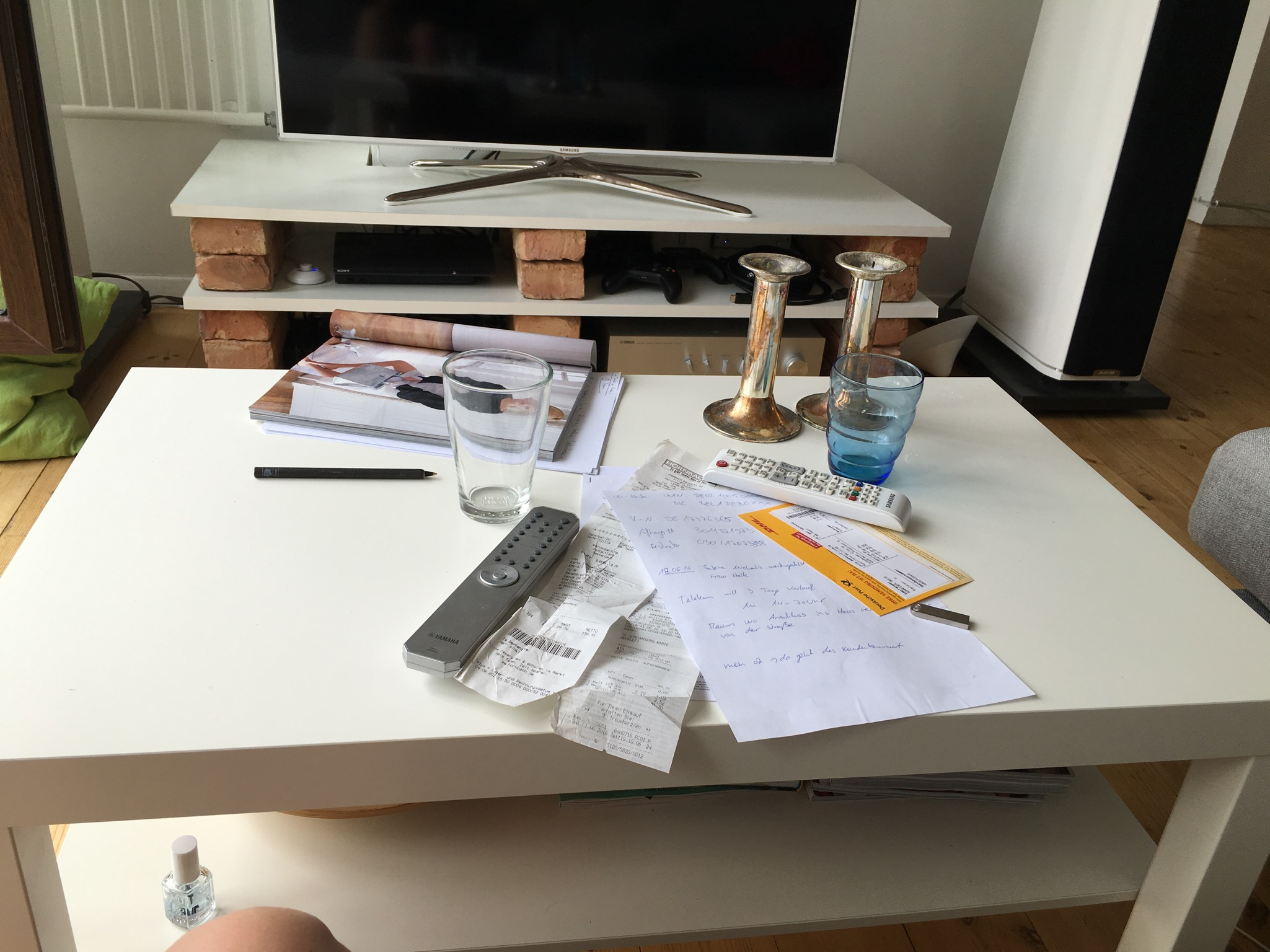 Real life mess on real life table that sometimes doubles as my Instagram photo shoot studio.
