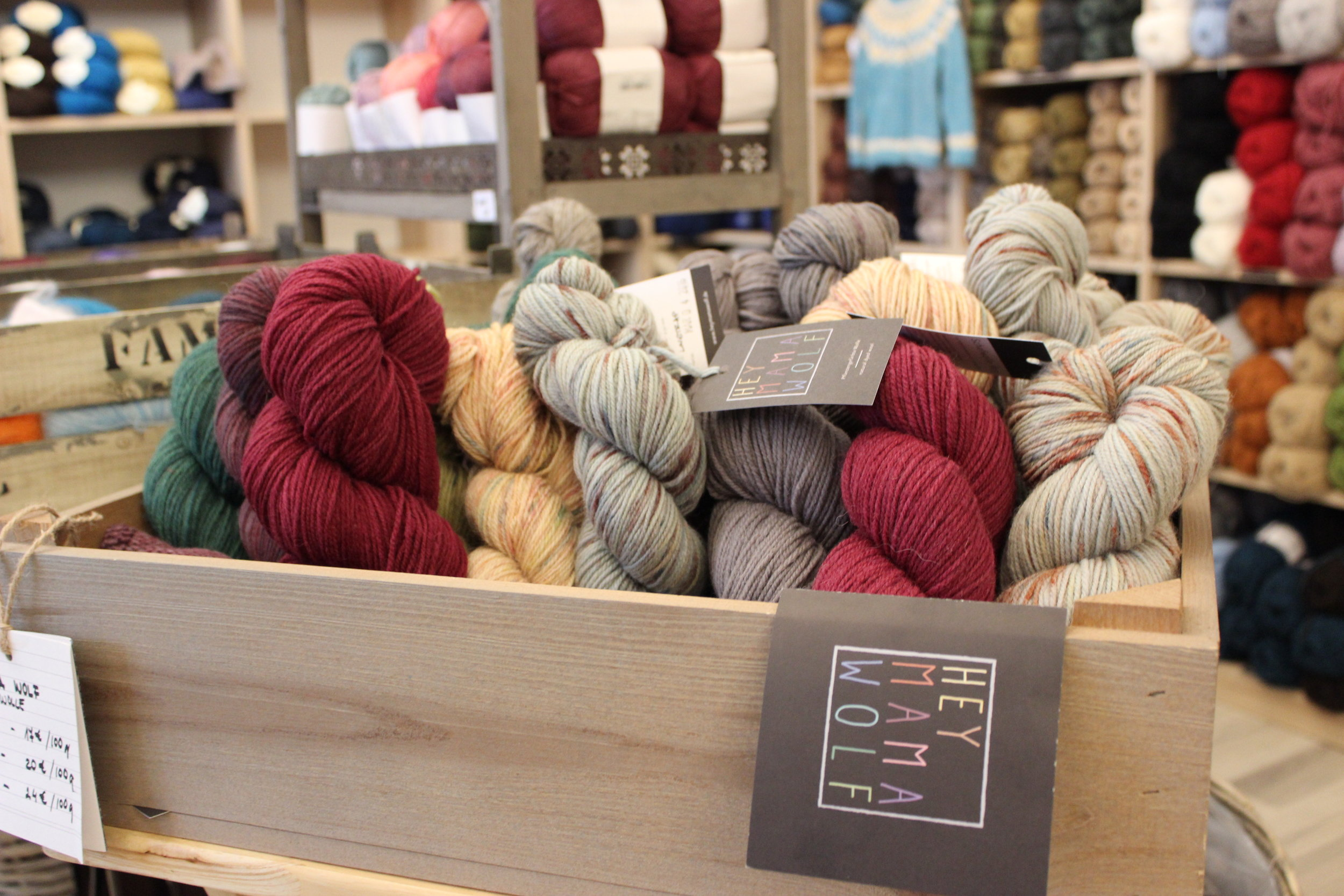Hey Mama Wolf, one of the local German yarns Wollen Berlin carries.