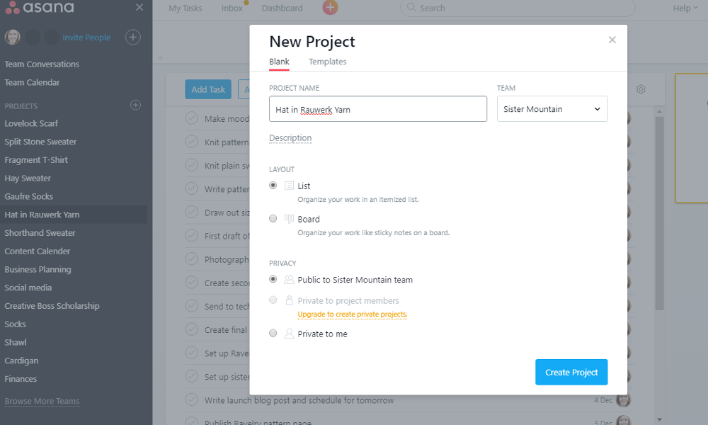 This is an example of how you would set up a new project.