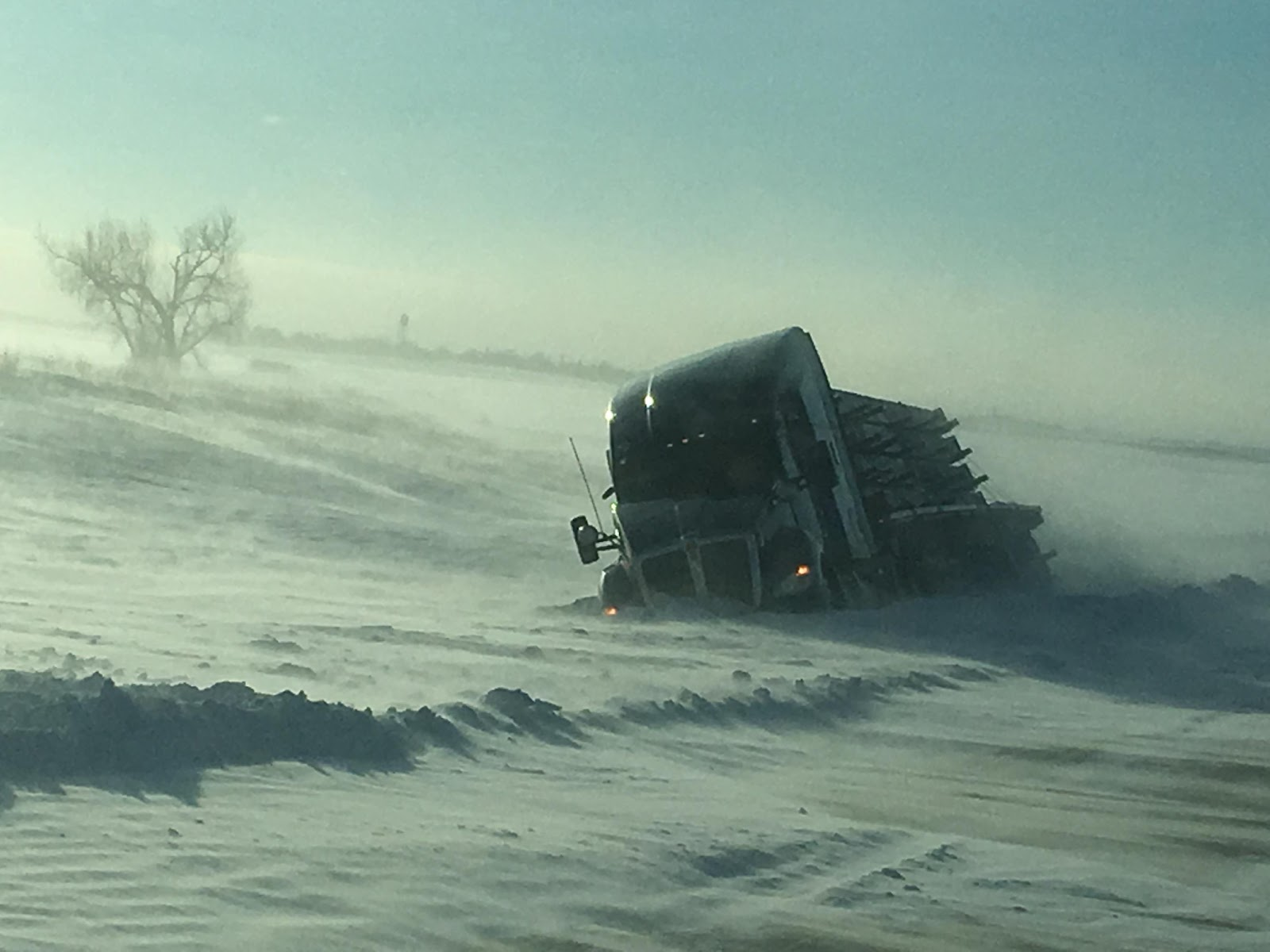 a big rig trapped in the snow