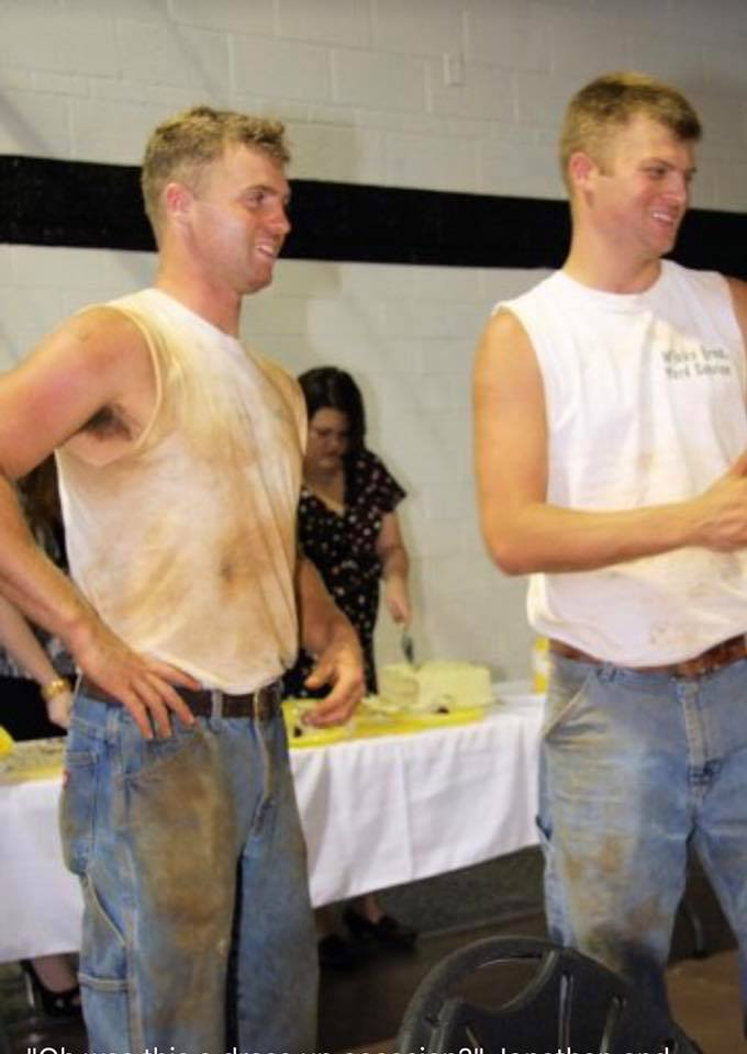Wicks (left), live from a soybean farm near you