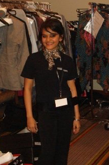 When not packing groceries,Shitika, 18, dressed models at fashion shows for extra $$.