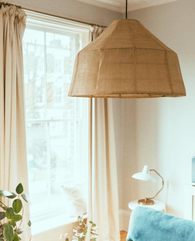 Canvas light shade in living room