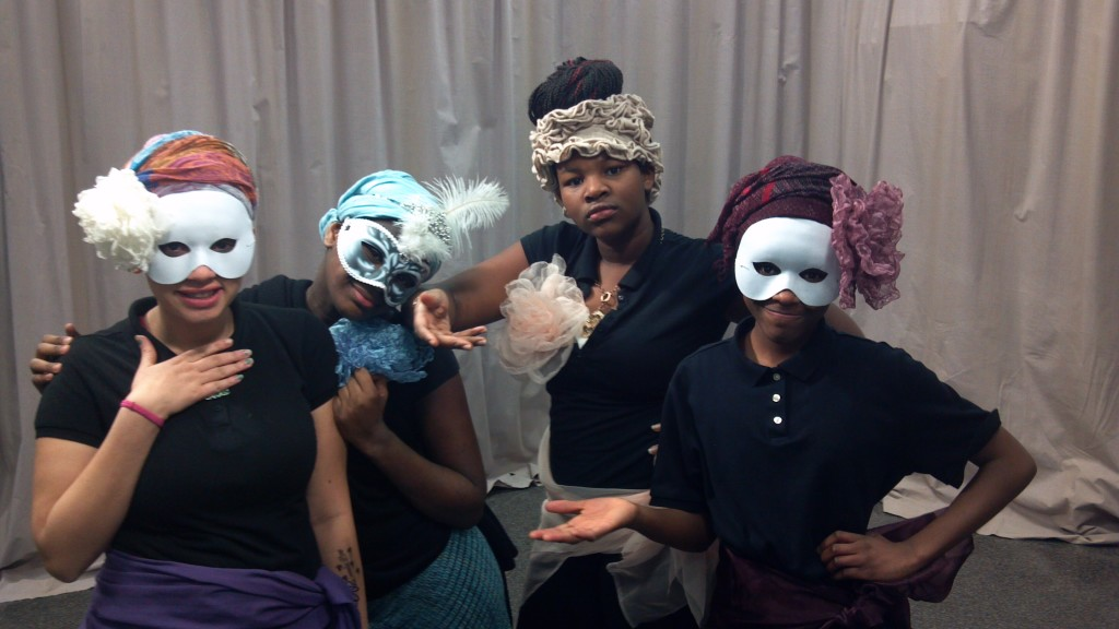 """Hughes High School Students show off their """"ball"""" costumes. Daria, Passion, Clarice and India, Fall 2013"""