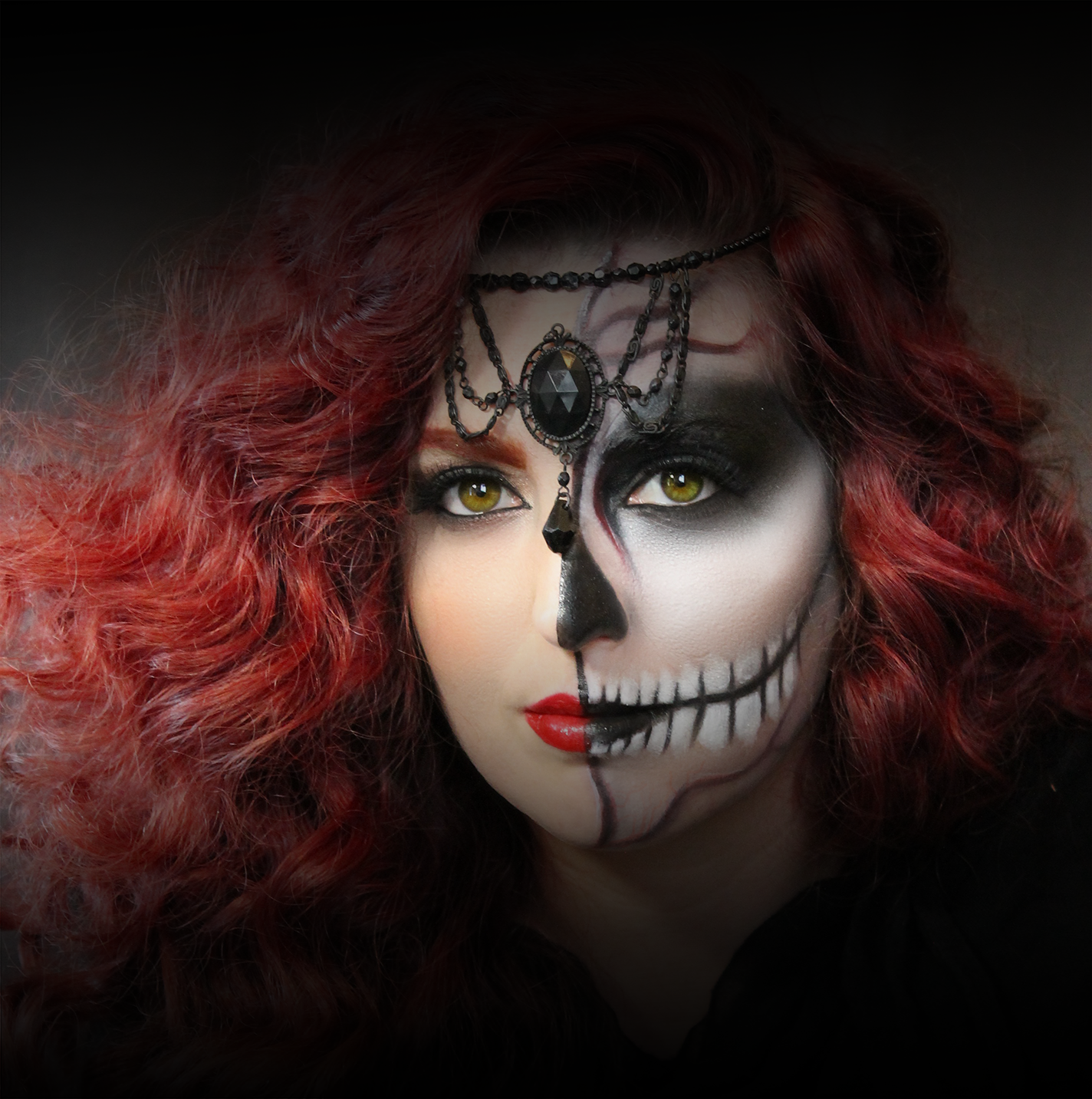 Halloween Makeup and Hair Styling Half Skull, PreauxFace New Orleans