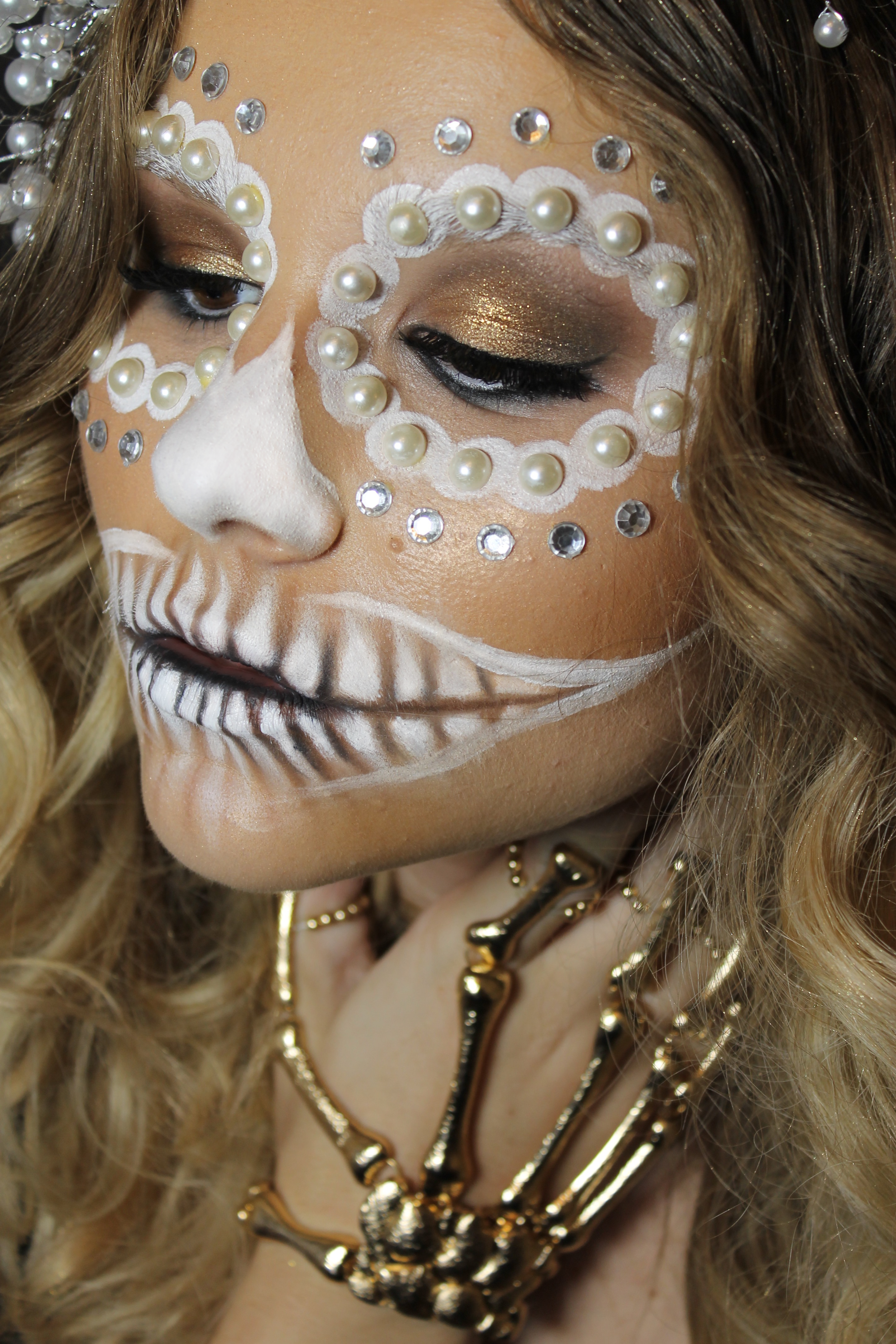 Halloween Makeup and Hair Styling Sugar Skull in White, PreauxFace New Orleans