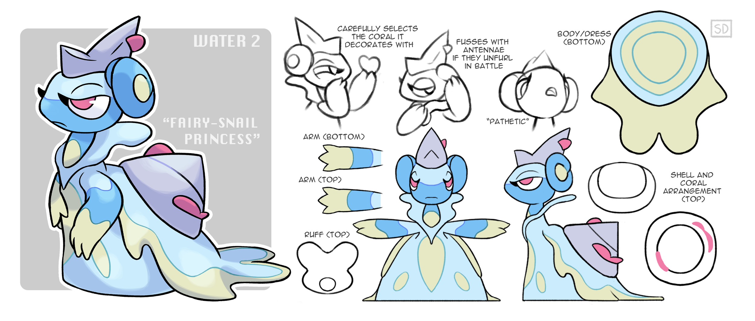 Originally an entry for Smogon's Create-A-Pokemon Project. The mid-evolution for the Water-type starter, Snaelstrom.