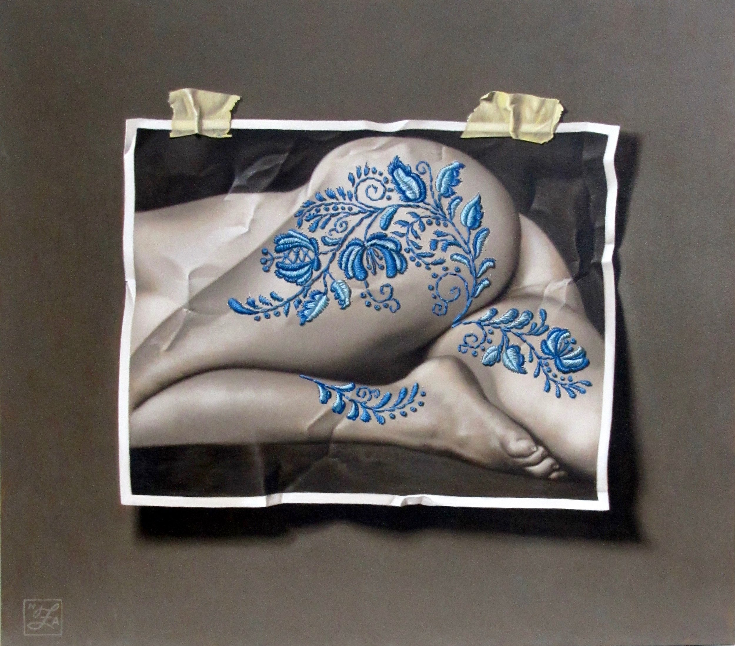 Nude With Delft Embroidery