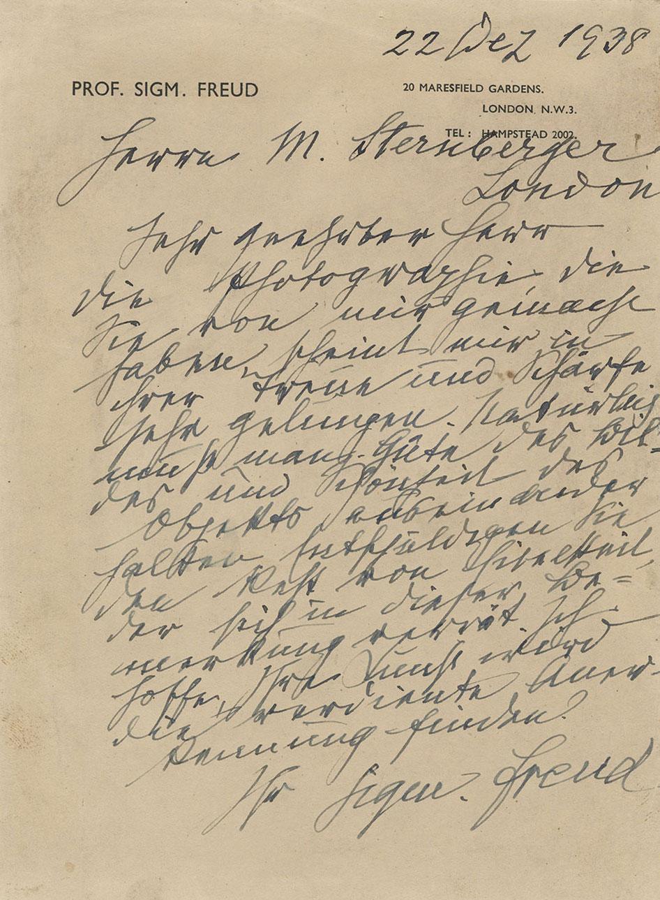Letter from Sigmund Freud to Marcel Sternberger, 1938