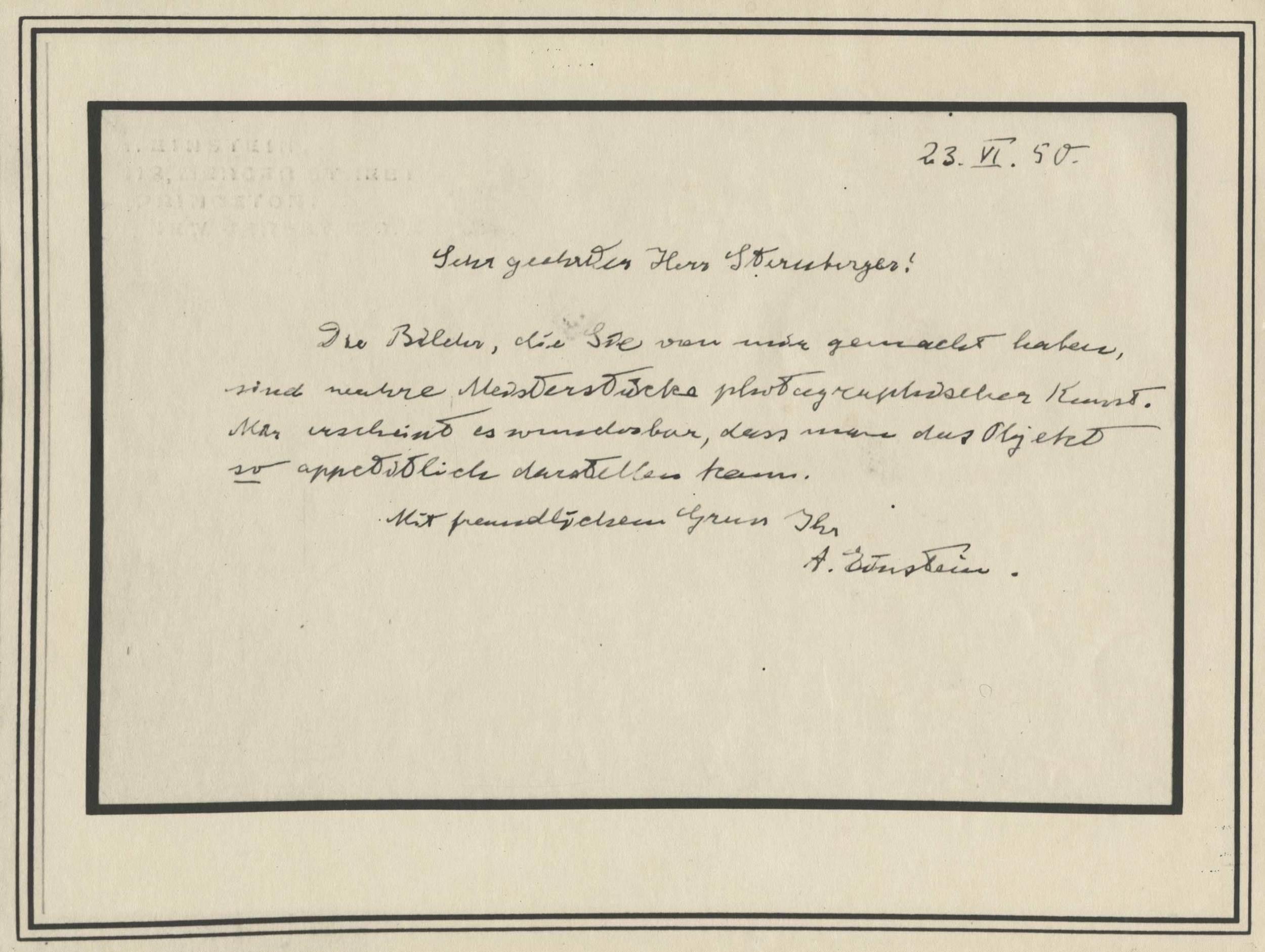 Letter from Albert Einstein to Marcel Steinberger, 1950