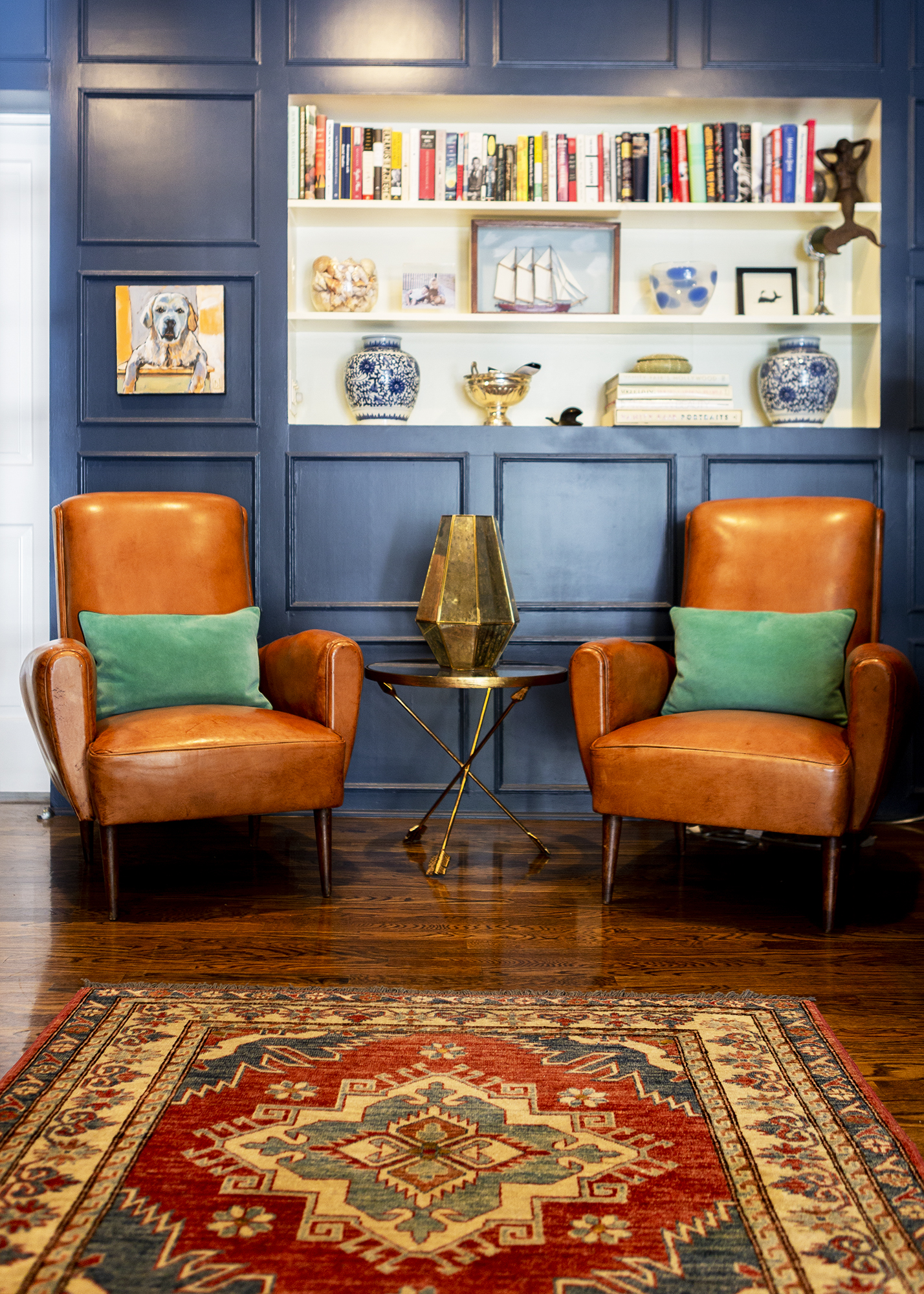 This room is one of our favorites, and not just because those chairs are a vintage pair we brought back from Europe, but because of the way Punch put the room together. The use of color and patterns really bring the elements together.