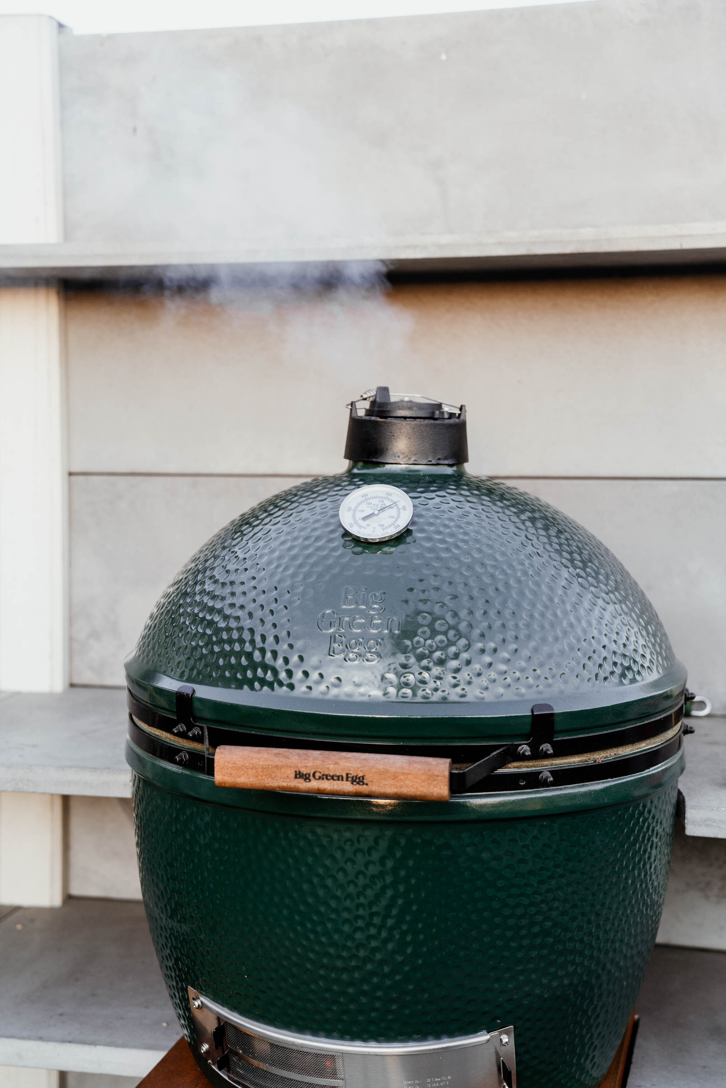 The Big Green Egg , a ceramic kamado-style charcoal grill, Installed by  WWOO .
