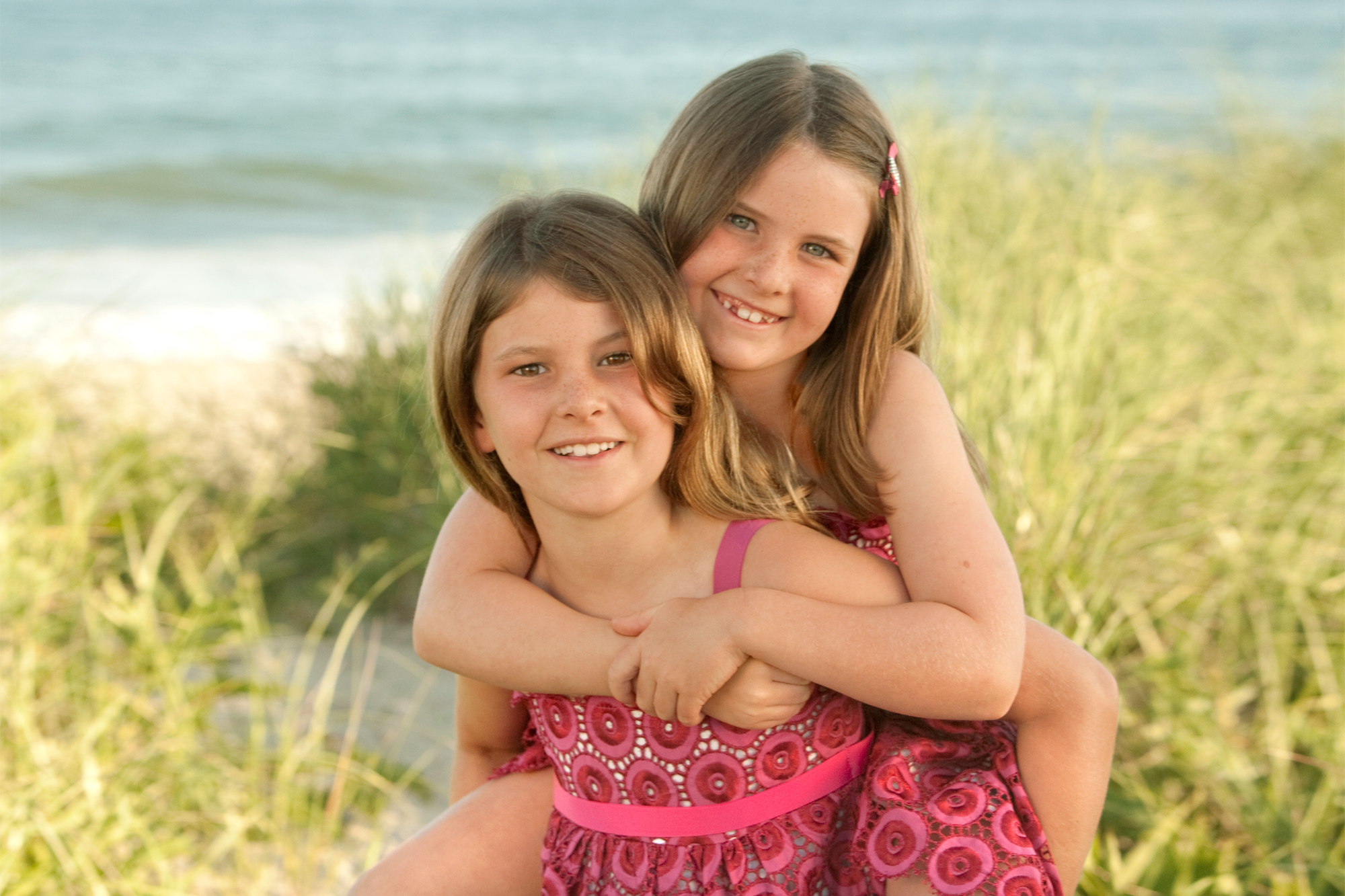Sisters Piggyback near the Westhampton Beach