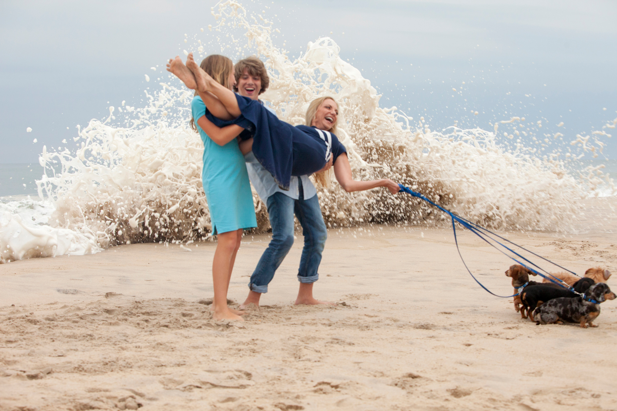 Mother, Children, and Dogs take the Beach in Southampton