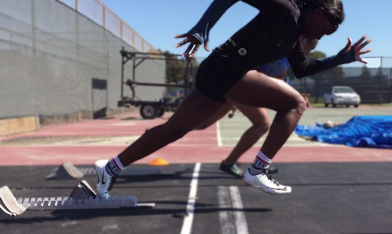 Athletes first step out of blocks
