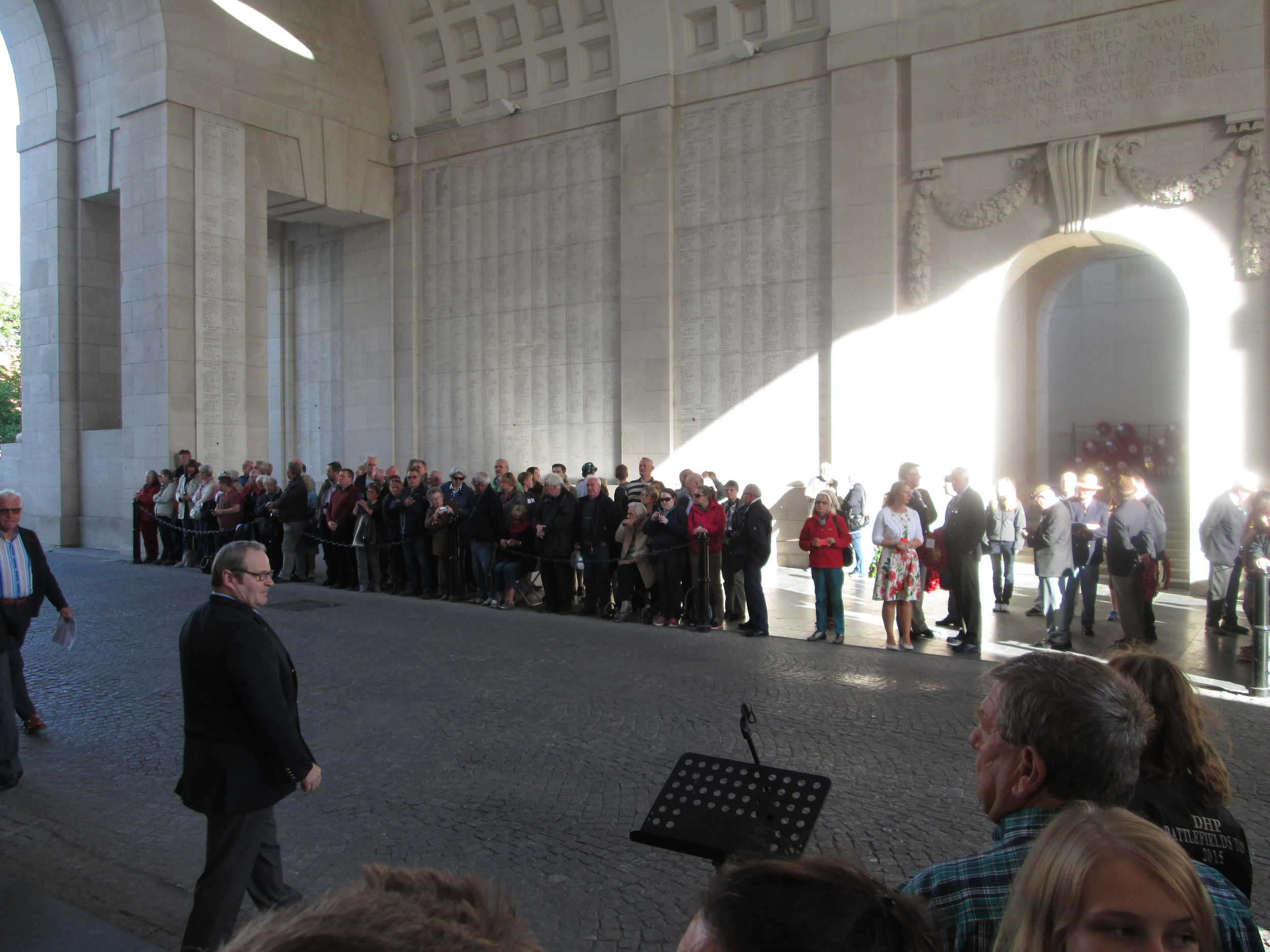 The Menin Gate Ceremony in Ypres. This monument commemorates the fallen soldiers of the Ypres Salient whose remains have not been found or identified.