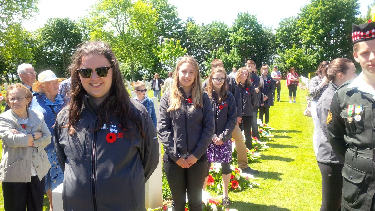 Digital Historians act as official youth ambassadors at the ceremony at Beny-sur-Mer Canadian War Cemetery on June 6th