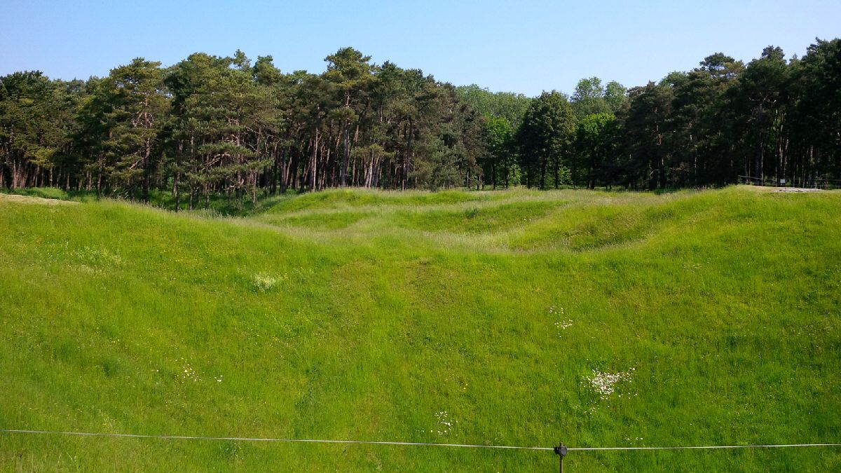 One hundred year old mine craters at Vimy Ridge