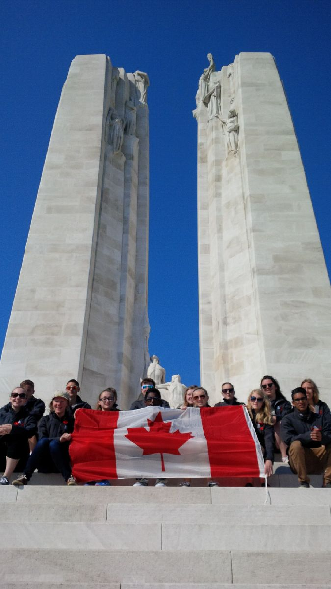 Digital Historians paying their respects on the Vimy Memorial